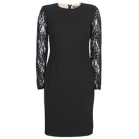 Clothing Women Short Dresses Lauren Ralph Lauren LACE PANEL JERSEY DRESS Black