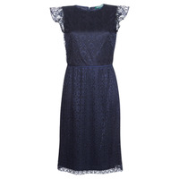 Clothing Women Short Dresses Lauren Ralph Lauren LACE CAP SLEEVE DRESS Marine