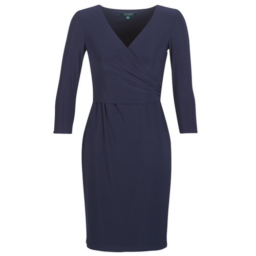 Clothing Women Short Dresses Lauren Ralph Lauren 3/4 SLEEVE DAY DRESS Marine