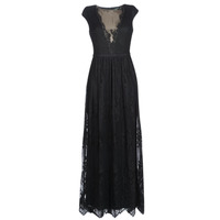 Clothing Women Long Dresses Lauren Ralph Lauren CAP SLEEVE LACE EVENING DRESS Black