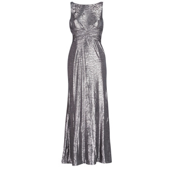 Clothing Women Long Dresses Lauren Ralph Lauren SLEEVELESS EVENING DRESS GUNMETAL Grey / Silver