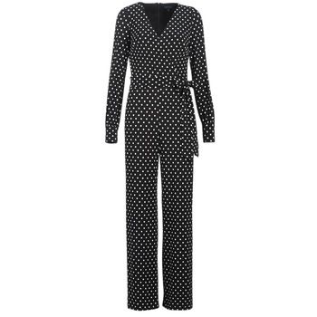Clothing Women Jumpsuits / Dungarees Lauren Ralph Lauren POLKA DOT WIDE LEG JUMPSUIT Black / White