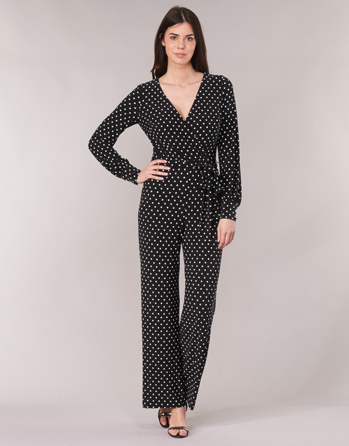 Clothing Women Jumpsuits / Dungarees Lauren Ralph Lauren POLKA DOT WIDE LEG JUMPSUIT Black / White