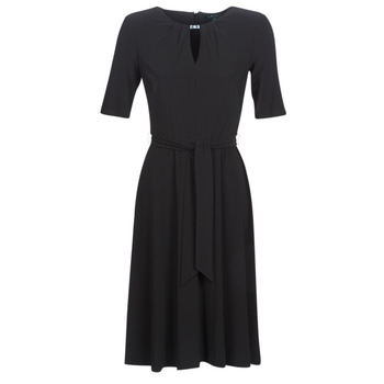 Clothing Women Short Dresses Lauren Ralph Lauren 3/4 SLEEVE  JERSEY DAY DRESS Black