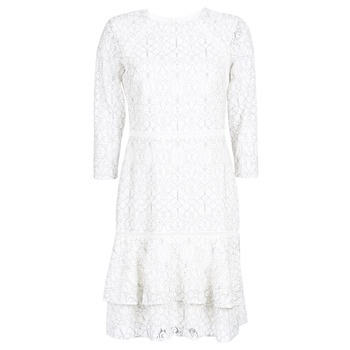 Clothing Women Short Dresses Lauren Ralph Lauren LONG SLEEVE-LACE DAY DRESS White / Black