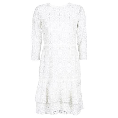 Clothing Women Short Dresses Lauren Ralph Lauren LONG SLEEVE-LACE DAY DRESS White / Black