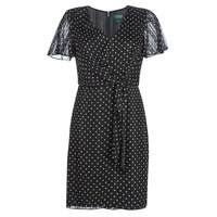 Clothing Women Short Dresses Lauren Ralph Lauren POLKA DOT-SHORT SLEEVE-DAY DRESS Black