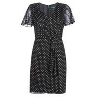 Clothing Women Short Dresses Lauren Ralph Lauren POLKA DOT-SHORT SLEEVE-DAY DRESS Black