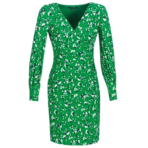 Clothing Women Short Dresses Lauren Ralph Lauren FLORAL PRINT-LONG SLEEVE-JERSEY DAY DRESS Green