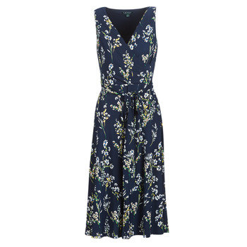 Clothing Women Long Dresses Lauren Ralph Lauren FLORAL PRINT-SLEEVELESS-DAY DRESS Marine
