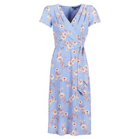 Clothing Women Long Dresses Lauren Ralph Lauren FLORAL PRINT- SHORT SLEEVE-DAY DRESS Blue