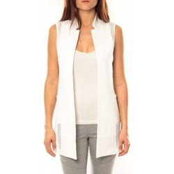 Clothing Women Jackets / Cardigans Vera & Lucy Gilet Lucce LC-7012 Blanc White