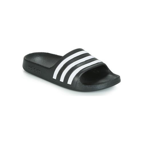 Shoes Children Tap-dancing adidas Performance ADILETTE AQUA K Black / White
