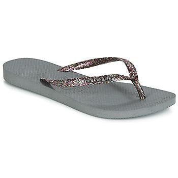 Shoes Women Flip flops Havaianas SLIM LOGO METALLIC Grey