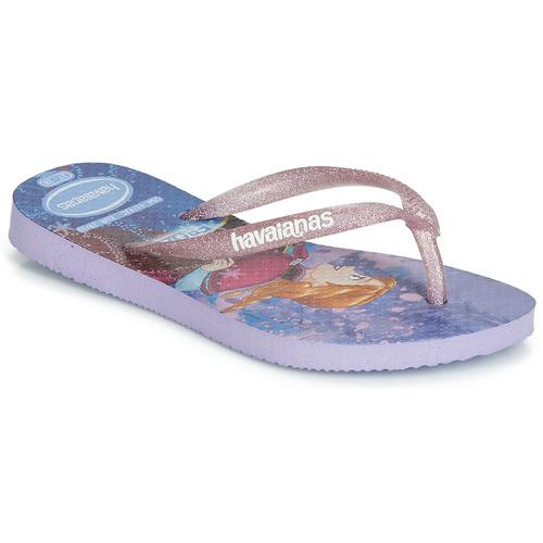 Shoes Girl Flip flops Havaianas KIDS SLIM FROZEN Purple