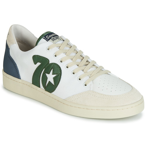Shoes Men Low top trainers Kost SEVENTIES 14 Ecru / Green / Blue
