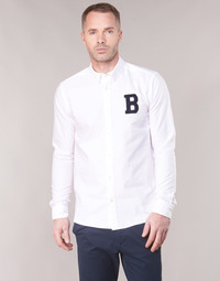 Clothing Men long-sleeved shirts Scotch & Soda REGULAR FIT AMS BLAUW OXFORD SHIRT WITH BADGE White