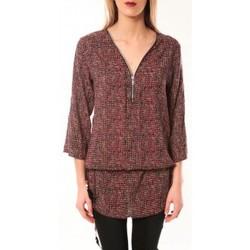 Clothing Women Long sleeved tee-shirts De Fil En Aiguille Robe Noémie & Co E1485-37 Rose/Noir Pink