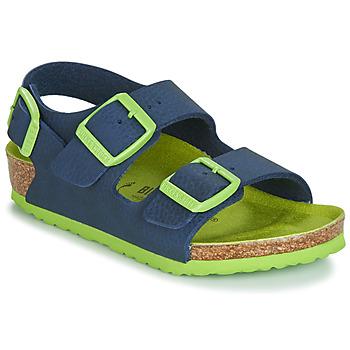 Shoes Boy Sandals Birkenstock Milano Blue / Green