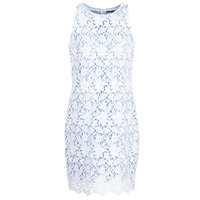 Clothing Women Short Dresses Benetton ROBY White / Blue