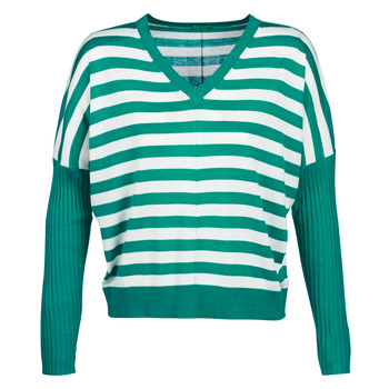 Clothing Women jumpers Benetton MONIE Green / White