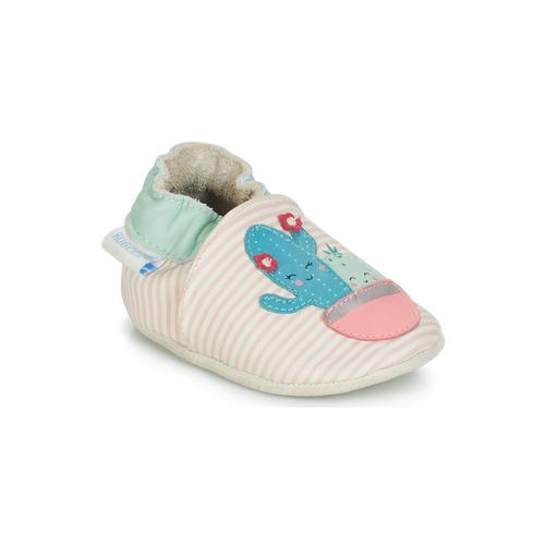 Shoes Girl Baby slippers Robeez CACTUS Ecru / Pink