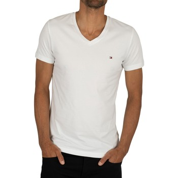Clothing Men short-sleeved t-shirts Tommy Hilfiger Core Stretch Slim V-Neck T-Shirt white