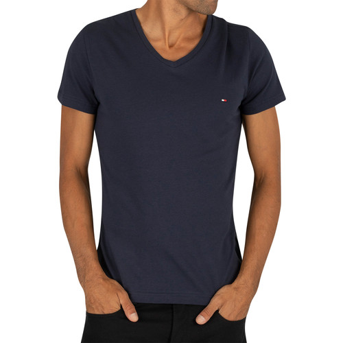 Clothing Men Short-sleeved t-shirts Tommy Hilfiger Core Stretch Slim V-Neck T-Shirt blue