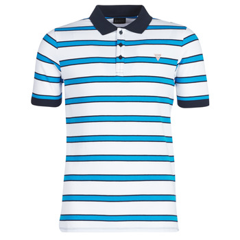 Clothing Men short-sleeved polo shirts Guess RAY White / Blue