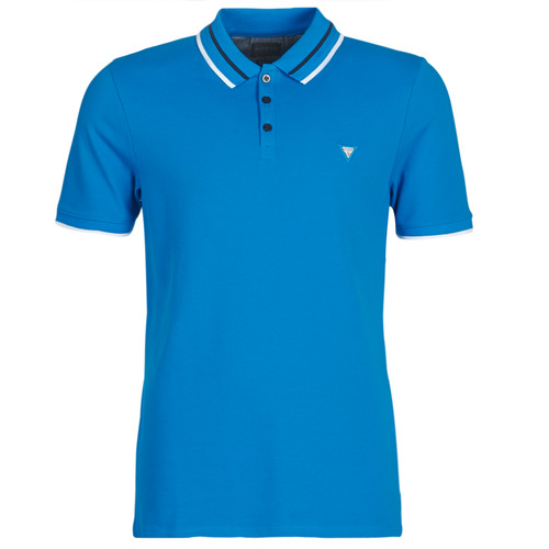 Clothing Men short-sleeved polo shirts Guess CLAUD Blue