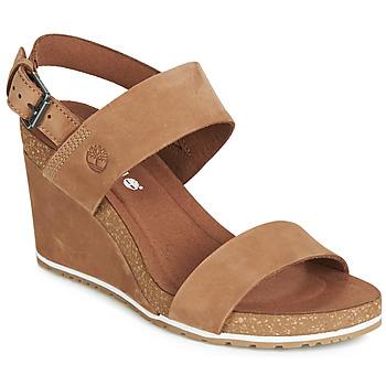 Shoes Women Sandals Timberland CAPRI SUNSET WEDGE Brown