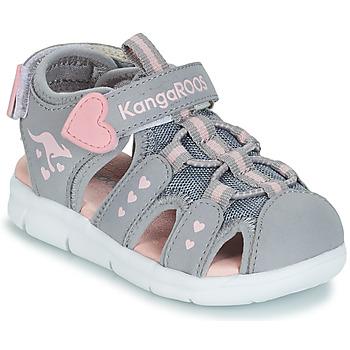 Shoes Girl Sandals Kangaroos K-MINI Grey / Pink
