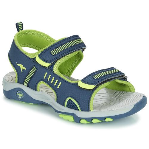 Shoes Children Sandals Kangaroos K-LOGAN Marine / Green