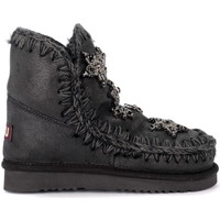 Shoes Girl Snow boots Mou Eskimo 18 Crystal Stars black sheepskin ankle boots with Black
