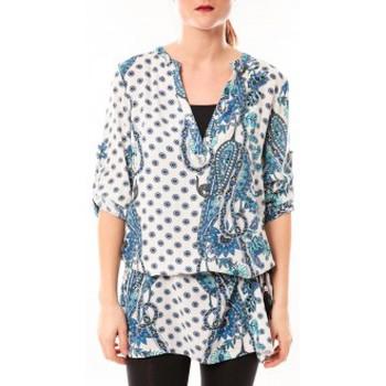 Clothing Women Short Dresses De Fil En Aiguille Tunique Love Look 1102 Bleu/Blanc Blue
