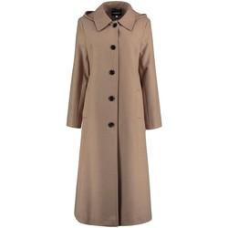 Clothing Women coats De La Creme -  Womens Camel Long Detachable Hooded Winter Coat BEIGE
