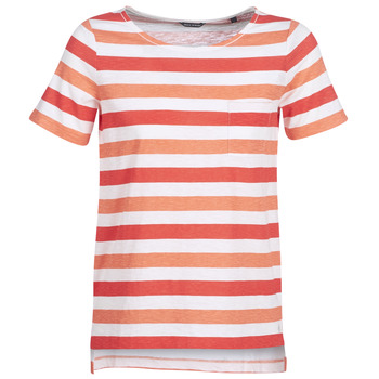 Clothing Women short-sleeved t-shirts Marc O'Polo CARACOLINE White / Orange