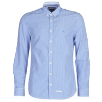 Clothing Men Long-sleeved shirts Marc O'Polo CARACOLIA White / Blue