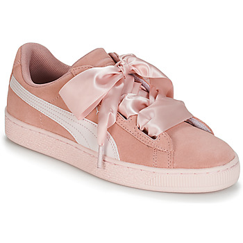 Shoes Girl Low top trainers Puma JR SUEDE HEART JEWEL.PEACH