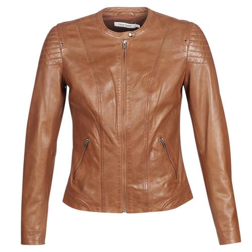 Clothing Women Leather jackets / Imitation leather Naf Naf CLIM Cognac