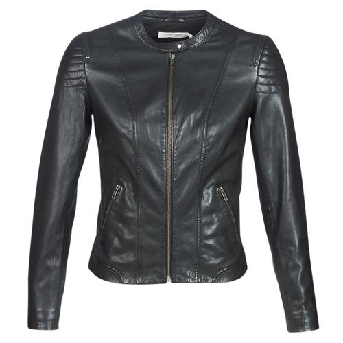 Clothing Women Leather jackets / Imitation leather Naf Naf CLIM Black