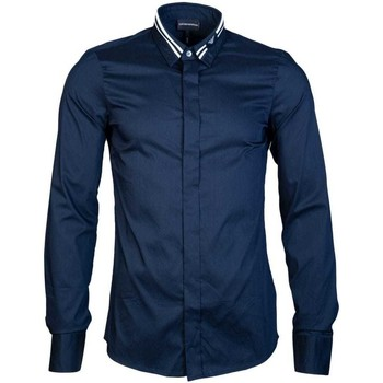 Clothing Men long-sleeved shirts Armani Shirt Slim Fit 6Z1CP2 1NFUZ blue