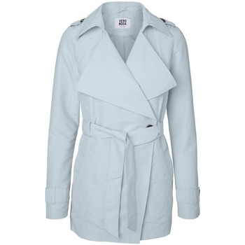 Clothing Women Trench coats Vero Moda - Baby Blue Score Cross Over Wrap Spring Trench Coat BLUE