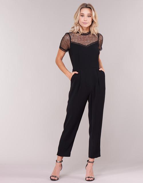 Clothing Women Jumpsuits / Dungarees MICHAEL Michael Kors LACE YOKE JUMPSUIT Black