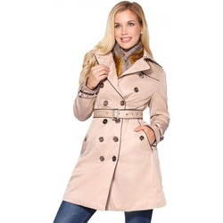 Clothing Women Trench coats Krisp Metallic Button Short Trench Coat Beige