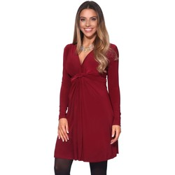 Clothing Women Tunics Krisp Long Sleeve Knot Front Dress Red