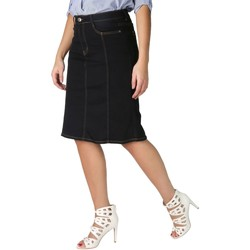 Clothing Women Skirts Krisp Panelled Plus A-Line Denim Skirt Black