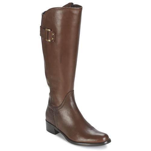 Shoes Women High boots Moda In Pelle SANTOSA Tan