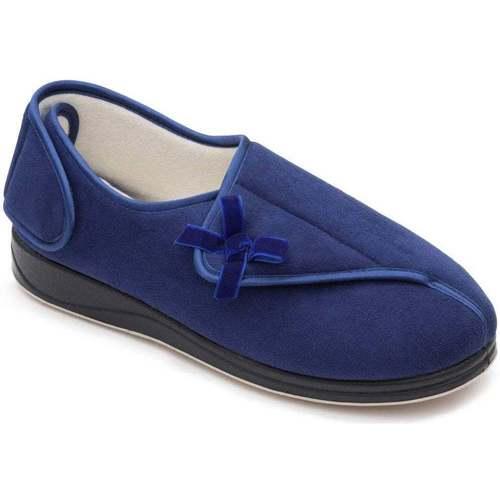 Shoes Women Slippers Padders Penny Womens Microsuede Velvet Bow Rip Tape Full Slippers blue