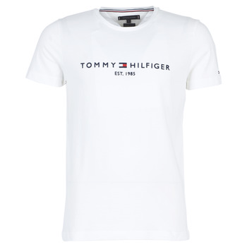 Clothing Men short-sleeved t-shirts Tommy Hilfiger TOMMY FLAG HILFIGER TEE White